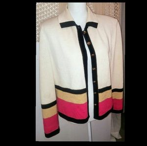 Vintage St. John Knit Gold Button Cardigan Size 8